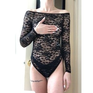 Boohoo Black Sheer Lace Bodysuit